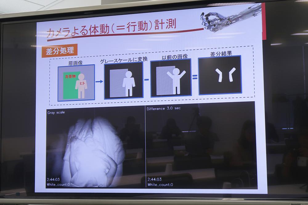 赤外線機能を備えたWebカメラで、就寝時の体の動きを撮影