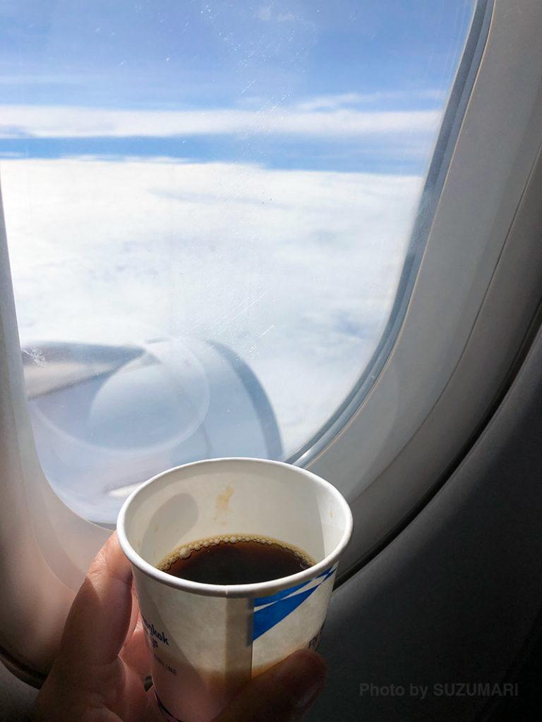 空港で冷え切った体に、バンコクエアウェイズのホットコーヒーが染みました