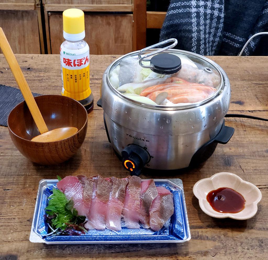 お刺身を食べてる間に沸騰します