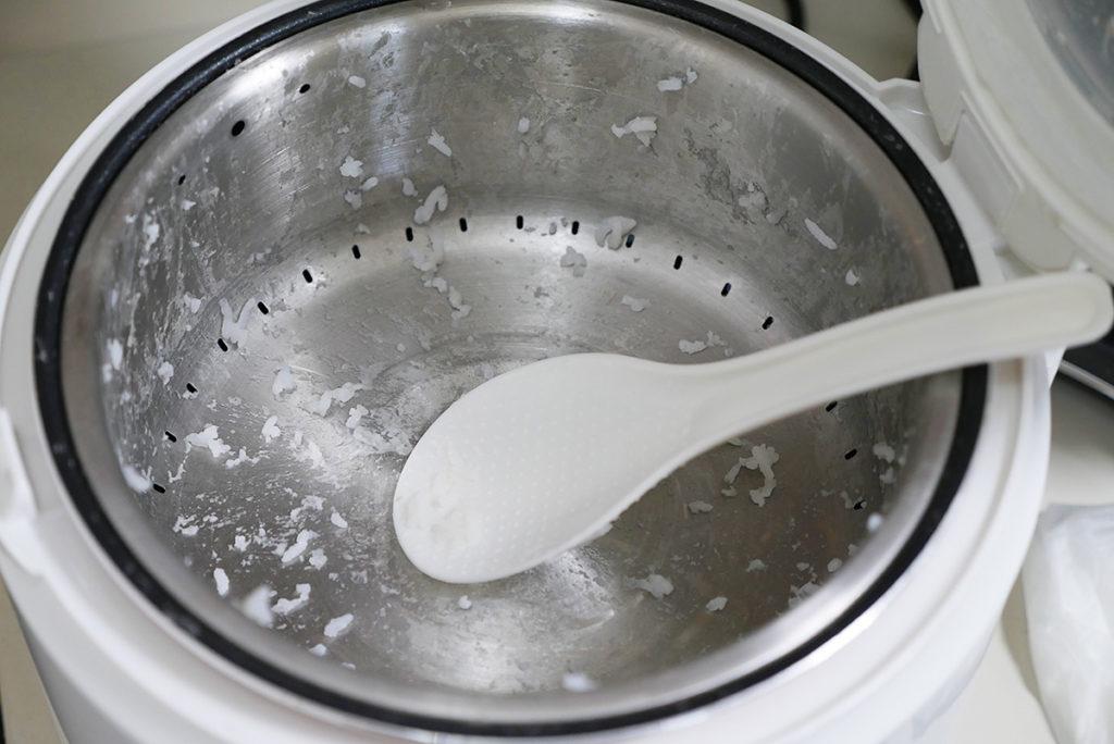 炊飯後の内釜の様子
